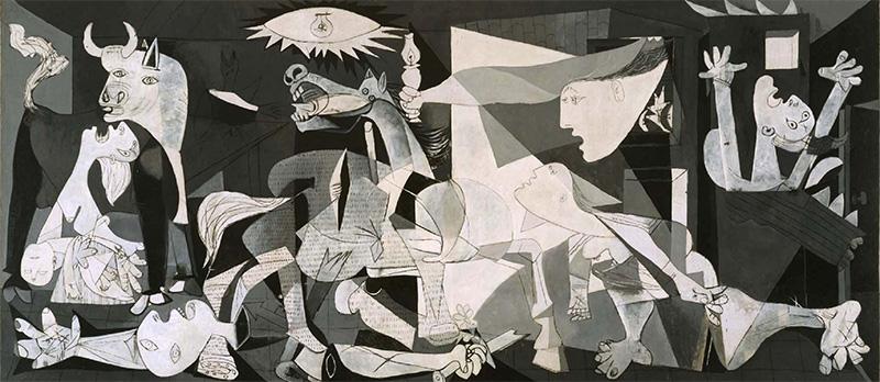 (Guernica) غيرنيكا بالإسبانية: لوحة جدارية للفنان بابلو بيكاسو استوحاها من قصف غورينيكا خلال الحرب الأهلية الإسبانية، 1937
